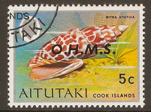 Aitutaki 1978 5c Official Stamp. SGO5.