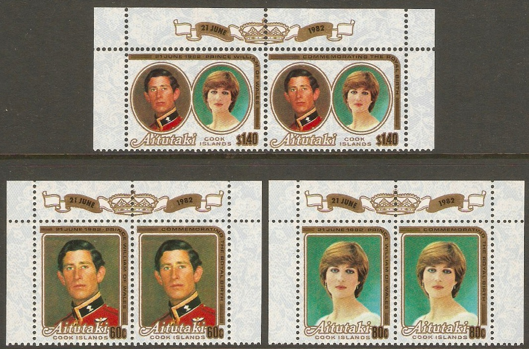 Aitutaki 1981 Royal Wedding Set. SG391-SG393.