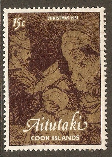 Aitutaki 1981 15c Christmas - Rembrandt Etchings series. SG406.