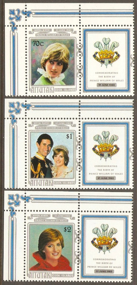 Aitutaki 1982 Princess of Wales Birthday Set. SG411-SG413.