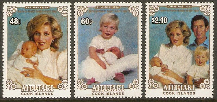 Aitutaki 1984 Birth of Prince Henry Stamps Set. SG514-SG516.