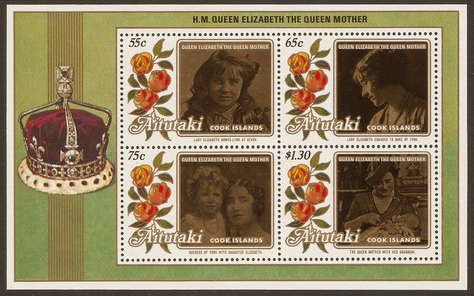 Aitutaki 1985 Queen Mother sheet. SGMS527.