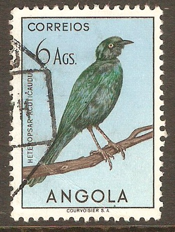 Angola 1951 6a Birds series - Glossy starling. SG472.