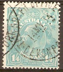Australia 1931 1s.4d Turquoise - KGV definitives. SG131.