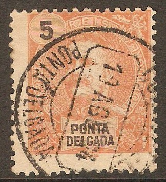 Ponta Delgada 1897 5r Orange-red. SG30.