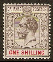Bahamas 1912 1s Grey-black and carmine. SG87.