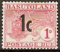 Basutoland 1961 1c on 1d Carmine - Postage Due. SGD5.