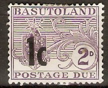 Basutoland 1961 1c on 2d Reddish violet - Postage Due. SGD6.