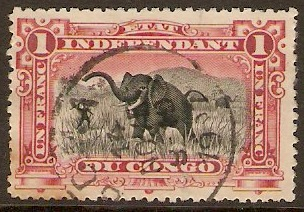 Ind. State of the Congo 1894 1f Black and reddish violet. SG22.