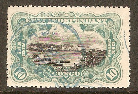 Ind. State of the Congo 1895 10c Black and turquoise blue. SG25.