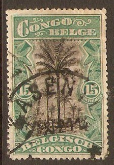 Belgian Congo 1915 15c Black and blue-green. SG72b.