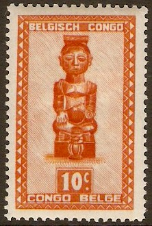 Belgian Congo 1947 10c Red-orange. SG273.