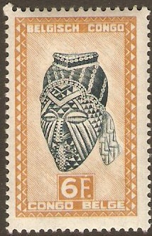 Belgian Congo 1947 6f Blackish green and dull orange. SG287.