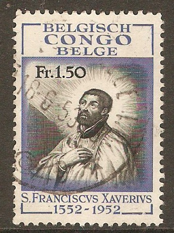 Belgian Congo 1953 1f.50 St. Francis Xavier stamp. SG318.