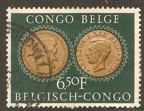 Belgian Congo 1954 6f.50 Brown and slate-green. SG322.
