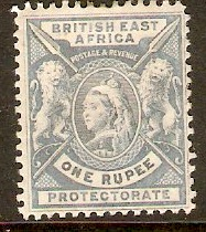 British East Africa 1896 1r Pale dull blue. SG75.