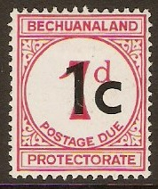 Bechuanaland 1961 1c on 1d Postage Due. SGD7.