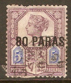 British Levant 1887 80pa on 5d Purple and blue. SG5.