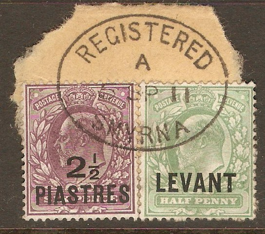 British Levant 1905 and 1910 Smyrna cds envelope clipping. SGL1