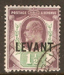 British Levant 1905 1½d Dull purple and green. SGL3.