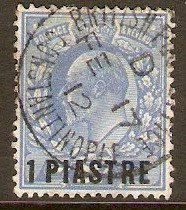 British Levant 1911 1pi on 2½d Dull blue. SG27a.