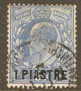 British Levant 1911 1pi on 2½d Dull blue. SG28a.