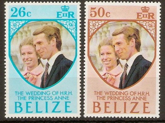 Belize 1973 Royal Wedding set. SG360-SG361.