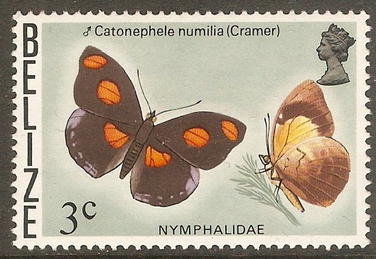 Belize 1974 3c Butterflies series. SG406.