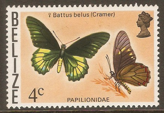 Belize 1974 4c Butterflies series. SG407.