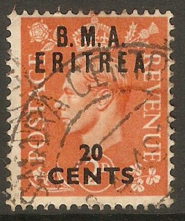 Eritrea 1948 20c on 2d Pale orange. SGE3.