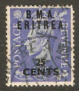 Eritrea 1948 25c on 2½d Light ultramarine. SGE4.