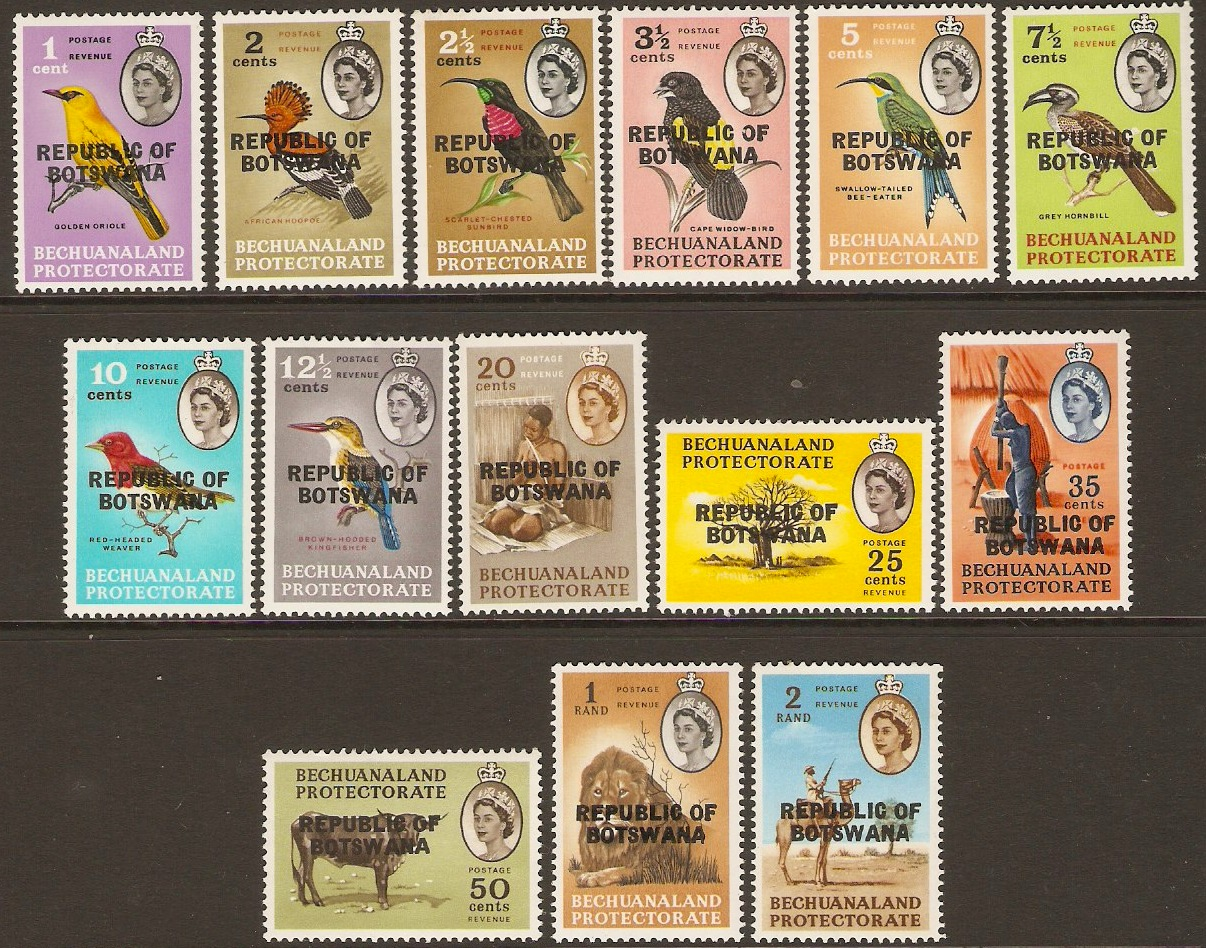 Botswana 1966 Bechuanaland Set with overprint. SG206-SG219.