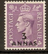 B.P.O.'s in Eastern Arabia 1948 3a on 3d Pale violet. SG21.