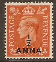 B.P.O.'s in Eastern Arabia 1950 ½a on ½d Pale orange. SG35.