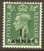 B.P.O.'s in Eastern Arabia 1950 1½a on 1½d Pale green. SG37.