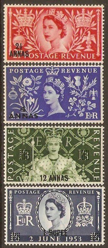 British P.O.'s in Eastern Arabia 1953 Coronation Set. SG52-SG55.