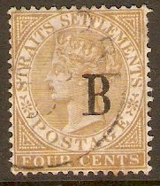 B.P.O.'s in Siam 1882 4c Pale brown. SG17.
