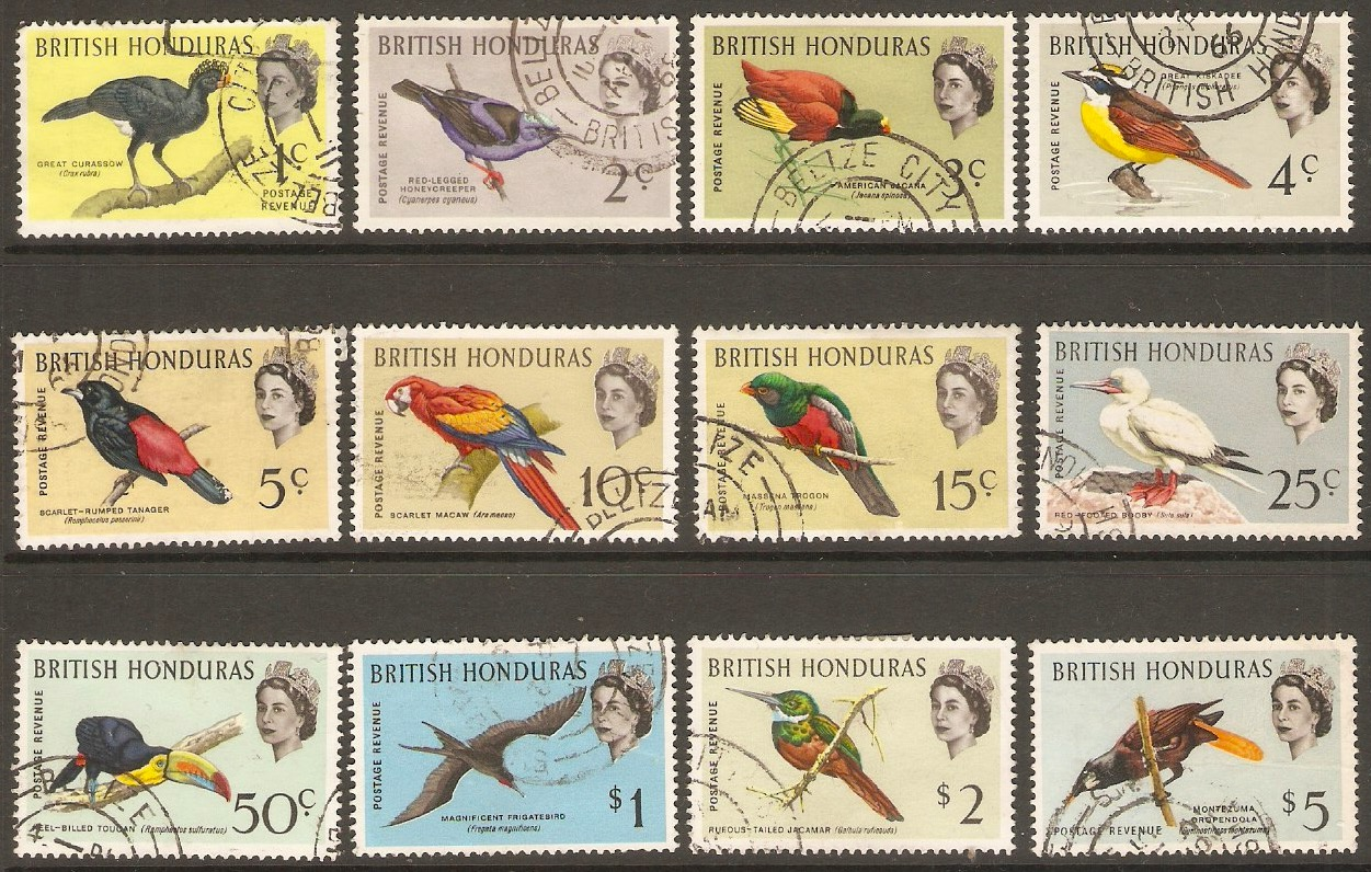 British Honduras 1962 Bird set. SG202-SG213.