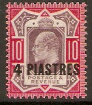 British Levant 1902 4pi on 10d Dull purple and carmine. SG10.