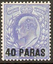 British Levant 1902 40pa on 2½d Ultramarine. SG8.