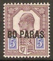 British Levant 1902 80pa on 5d Dull purple and ultramarine. SG9.