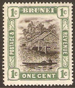 Brunei 1907 1c Grey-black and pale green. SG23.