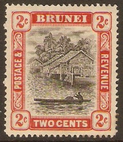 Brunei 1907 2c Grey-black and scarlet. SG24.