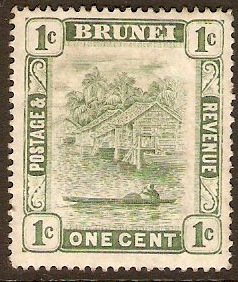 Brunei 1908 1c Green. SG34.