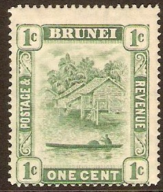 Brunei 1908 1c Green (Type II). SG35.