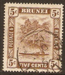 Brunei 1924 5c Chocolate. SG68.
