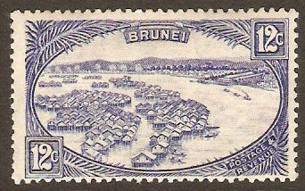 Brunei 1924 12c Blue. SG74.