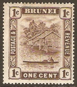 Brunei 1947 1c Chocolate. SG79.