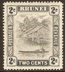 Brunei 1947 2c Grey. SG80.