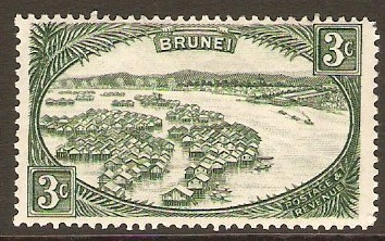Brunei 1947 3c Green. SG81.